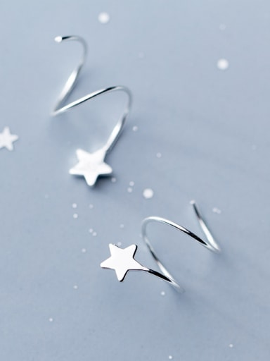 925 Sterling Silver With Platinum Plated Cute Star Earring Jackets