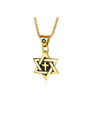 Stainless Steel With   Two-Tone  Plating Personality Six-Star Cross Men's  Pendants