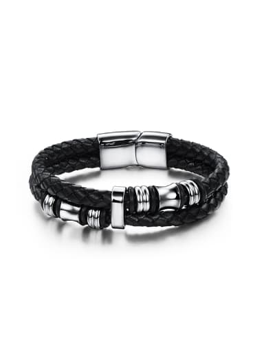 Exquisite Titanium Woven Artificial Leather Men Bracelet