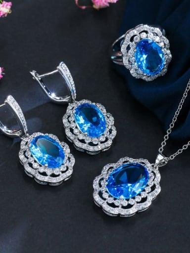 Copper inlaid AAA Zircon Earrings Necklace 3 piece jewelry set