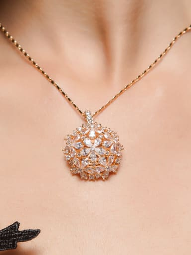 Copper inlaid AAA zircon gold necklace