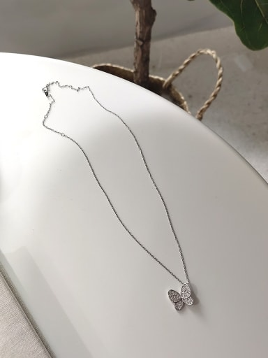 925 Sterling Silver With Platinum Plated Cute Butterfly Necklaces
