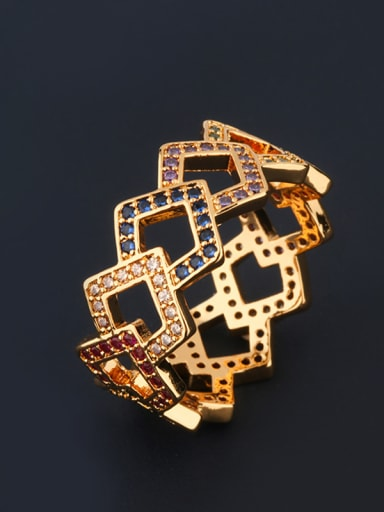 Copper With Cubic Zirconia Fashion Geometric Multistone Rings