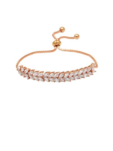 Copper With Cubic Zirconia  Fashion Water Drop Adjustable Bracelets