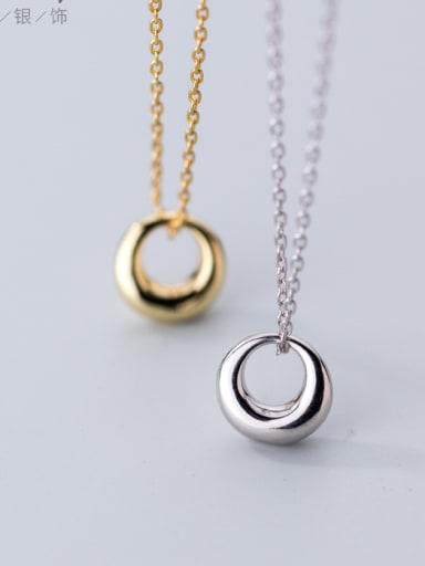 925 Sterling Silver With 18k Gold Plated Fashion Oval Necklaces