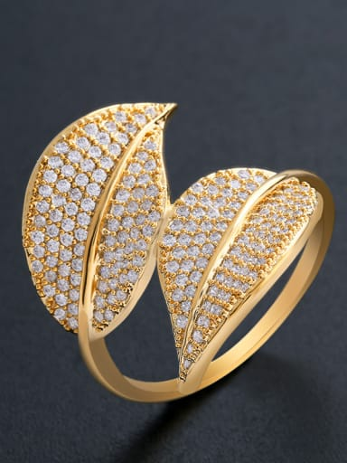 Copper With Cubic Zirconia Fashion Leaf Cocktail Rings