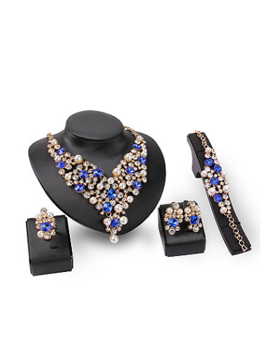 Alloy Imitation-gold Plated Fashion Artificial Pearls and Stones Four Pieces Jewelry Set
