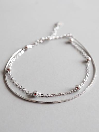 Sterling silver personality minimalism bead snake bone chain double bracelet