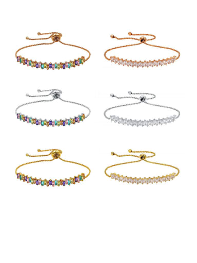 Copper With Cubic Zirconia Personality Geometric Adjustable Bracelets