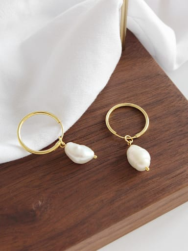 Sterling Silver simple geometric Baroque Freshwater Pearl Earrings