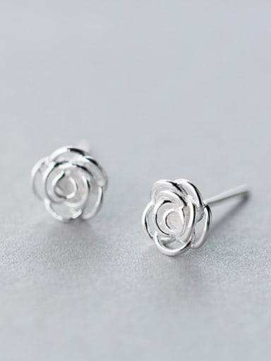 S925 silver sweet rose stud cuff earring