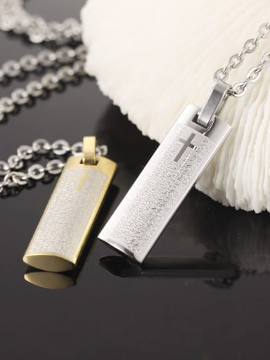 Personalized Cross Scriptures Titanium Necklace