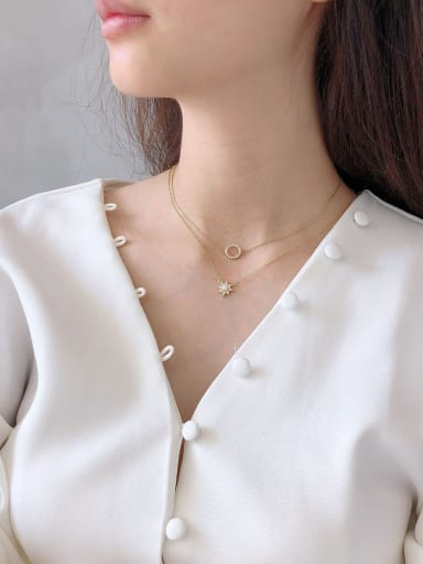 925 Sterling Silver With Gold Plated Cute Star Round Necklaces