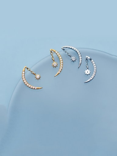 925 Sterling Silver With Cubic Zirconia Cute Moon Drop Earrings