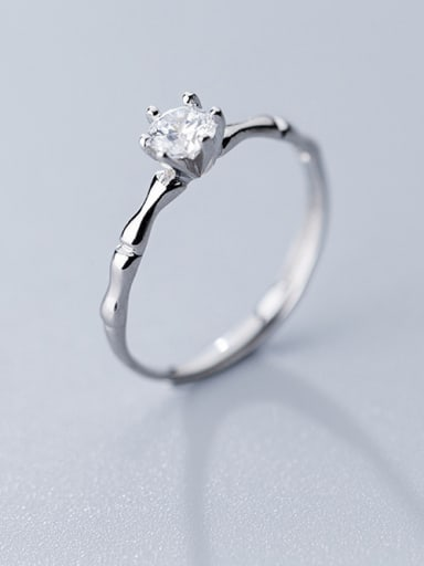 925 Sterling Silver With Platinum Plated Classic Round Solitaire Rings