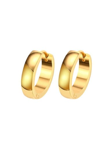 Temperament Gold Plated Geometric Titanium Clip Earrings