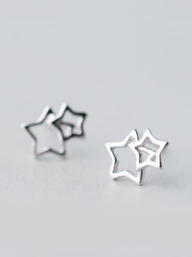 S925 Silver Hollow Star Stud cuff earring