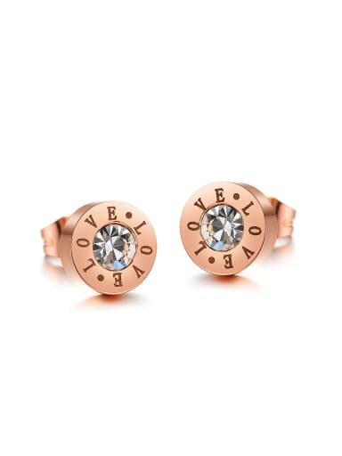 Fashion Tiny Rose Gold Plated Zircon Round Stud Earrings