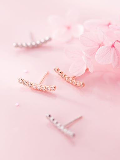 925 Sterling Silver With Rose Gold Plated Delicate Stud Earrings