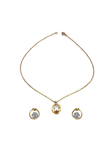 Temperament Gold Plated Zircon Round Shaped Two Pieces Jewelry Set