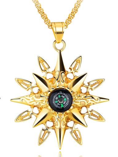 Stainless Steel With Gold Plated Vintage sun compass Pendants