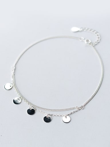 Fresh Double Layer Round Shaped S925 Silver Foot Jewelry
