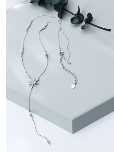 Pure Silver Snowflake long necklace and love short necklace