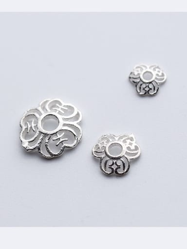 925 Sterling Silver With Silver Plated Trendy Flower Bead Tips