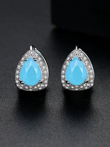blue Copper  With Platinum Plated Luxury Geometric Stud Earrings