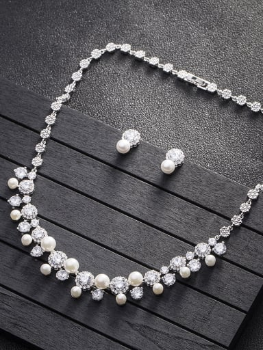 Bridal jewelry Copper inlaid AAA zircon Synthetic pearl 2 piece jewelry set