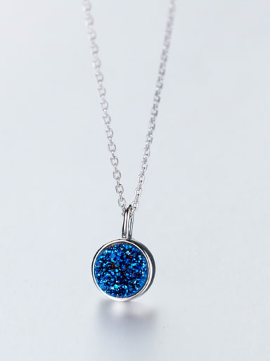 All-match Blue Round Shaped Crystal S925 Silver Necklace