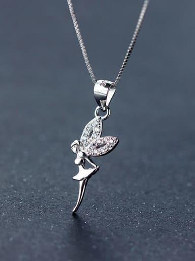 S925 silver beautiful angel zircon necklace