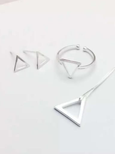 S925 silver fashion simple triangle set