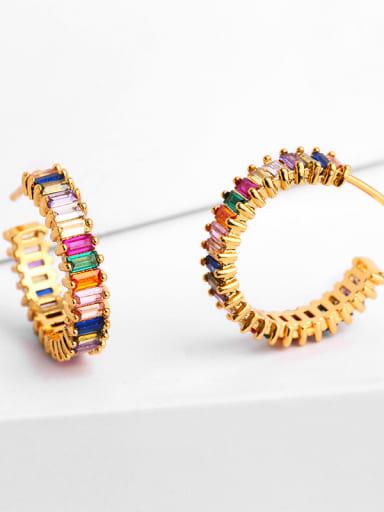 Copper With Cubic Zirconia Trendy Geometric Hoop Earrings