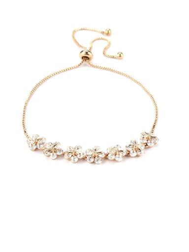 Copper With Cubic Zirconia Simplistic Flower Fashion Adjustable Bracelets