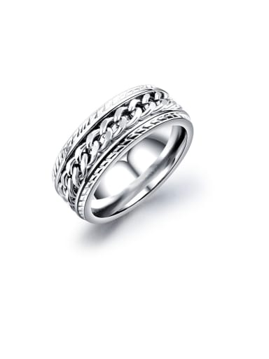 Titanium With White Gold Plated Simplistic Fringe  Chain Band Rings