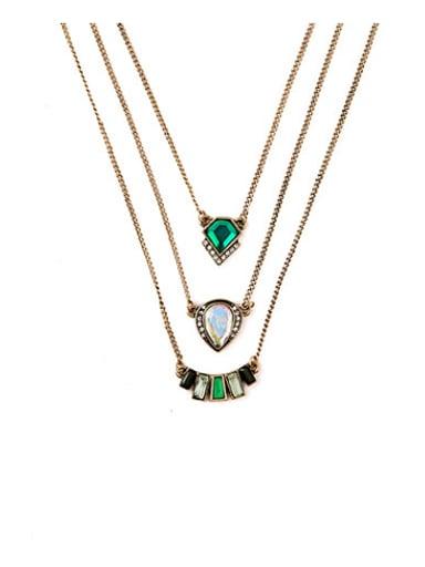 Exquisite Luxury Artificial Stones Multilayer Alloy Necklace