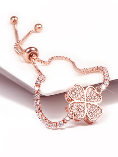 Copper With Rose Gold Plated Fashion clover Irregular Bracelets