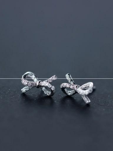 S925 silver Bow zircon Stud cuff earring