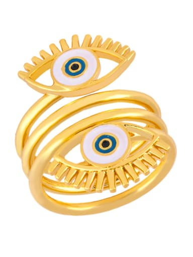 Copper With  Enamel Trendy Evil Eye Free size Rings