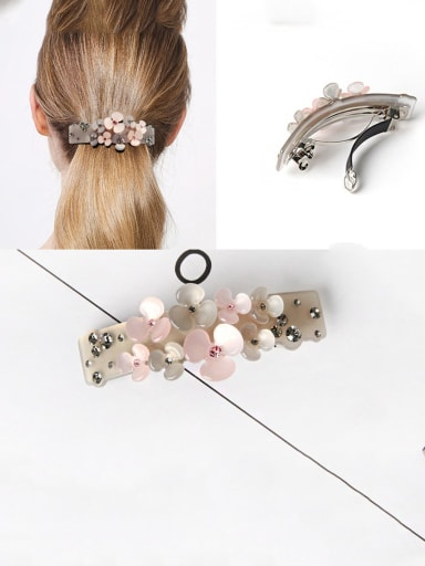 Alloy With Platinum Plated Fashion Flower  Horsetail Clip