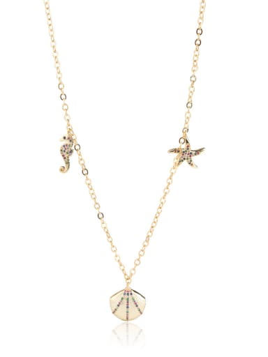 Copper With Cubic Zirconia Trendy Shell/hippocampus/Star Beaded Necklaces