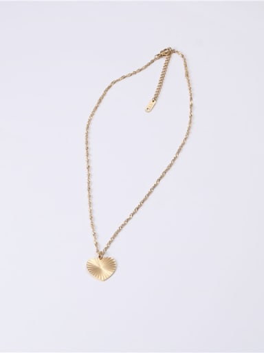 Titanium With Gold Plated Simplistic Heart Pattern  Locket Necklace