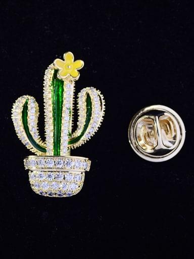 Copper With Cubic Zirconia Cute Cactus Lapel Pins