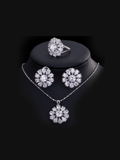Flower Zircon Three Pieces Jewelry Set