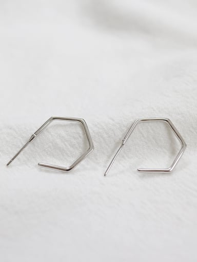 Simple Hexagonal shaped Silver Stud Earrings