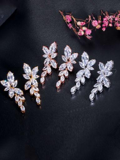 Copper With Cubic Zirconia Luxury Water Drop Wedding Cluster Earrings