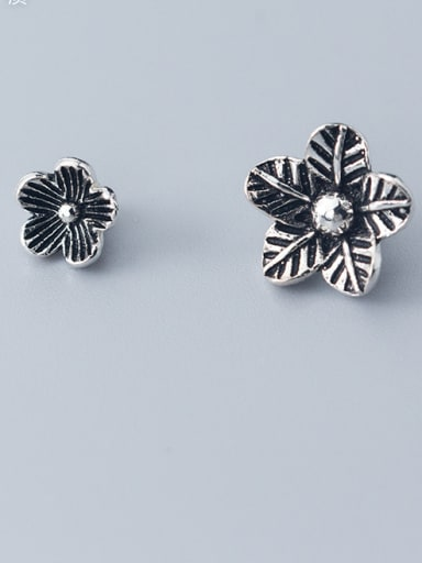 925 Sterling Silver With Antique Silver Plated  Flower Bead Caps