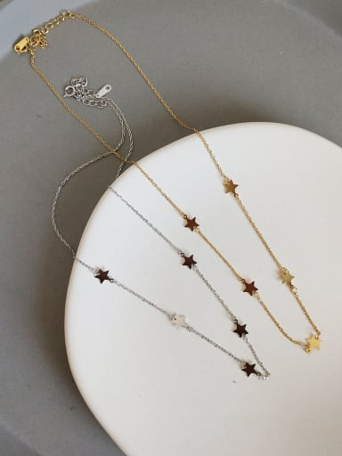 925 Sterling Silver With 18k Gold Plated Trendy Star Necklaces
