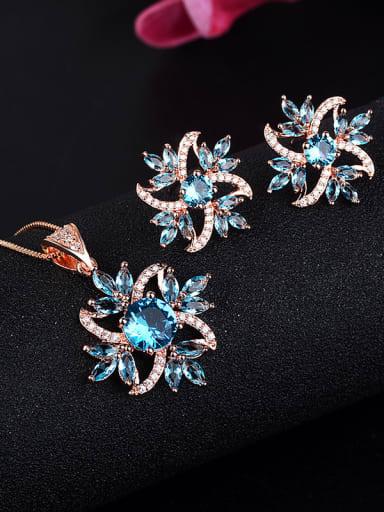Copper With Glass stone Trendy Flower 2 Piece Jewelry Set